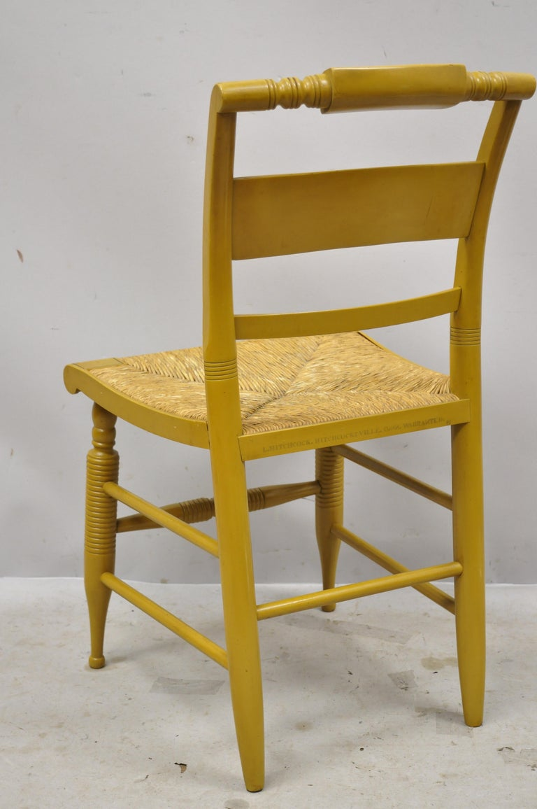 Vintage L. Hitchcock Yellow Painted Stenciled Rush Seat Dining Side Chair For Sale 3