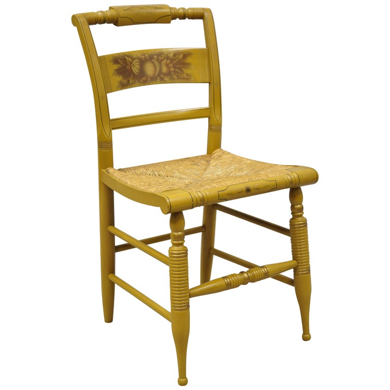 Vintage L. Hitchcock Yellow Painted Stenciled Rush Seat Dining Side Chair For Sale