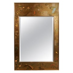 Vintage La Barge Chinoiserie Reverse Painted Gold Leaf Mirror
