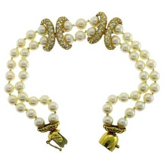 Vintage La Triomphe Pearl 18k Yellow Gold Bracelet