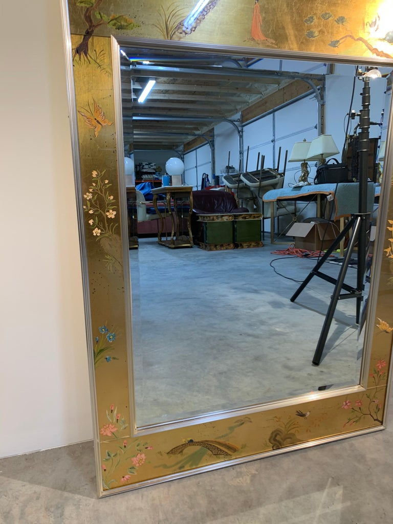 American Vintage Labarge Chinoiserie Gilt Painted Ming Style Mirror For Sale