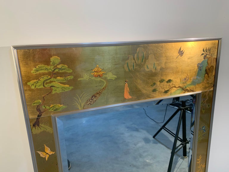 Vintage Labarge Chinoiserie Gilt Painted Ming Style Mirror In Excellent Condition For Sale In Southampton, NJ