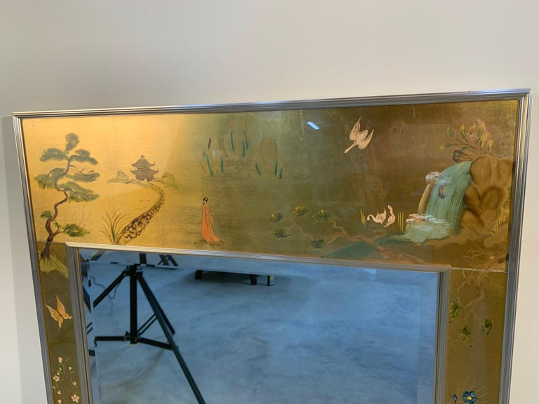 Late 20th Century Vintage Labarge Chinoiserie Gilt Painted Ming Style Mirror For Sale
