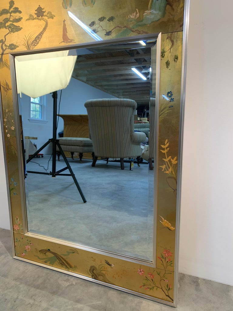 Vintage Labarge Chinoiserie Gilt Painted Ming Style Mirror For Sale 1