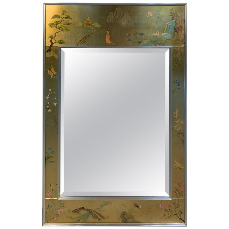 Vintage Labarge Chinoiserie Gilt Painted Ming Style Mirror For Sale