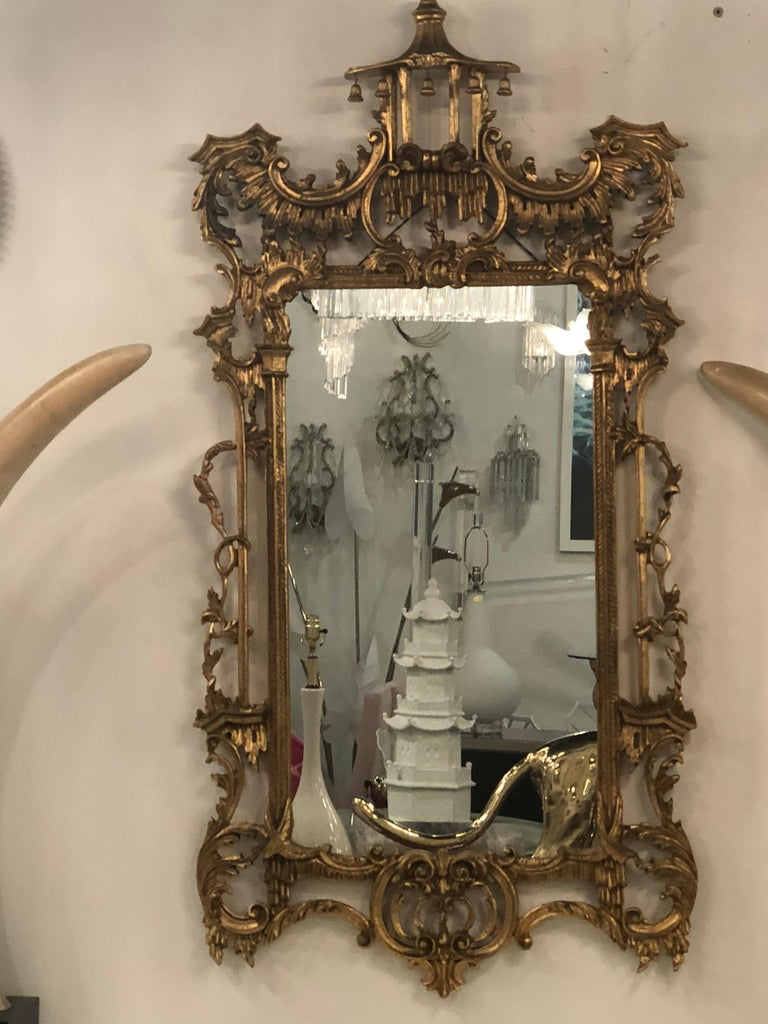 Vintage LaBarge Italian Pagoda chinoiserie wall mirror bells carved wood.