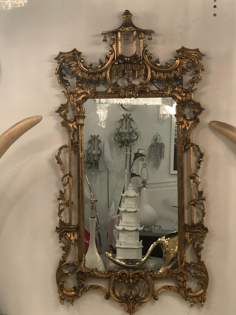 Vintage LaBarge Italian Pagoda Chinoiserie Wall Mirror Bells Carved Wood In Good Condition For Sale In West Palm Beach, FL