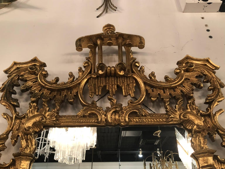 Late 20th Century Vintage LaBarge Italian Pagoda Chinoiserie Wall Mirror Bells Carved Wood For Sale
