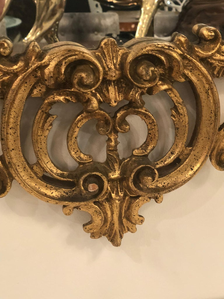 Vintage LaBarge Italian Pagoda Chinoiserie Wall Mirror Bells Carved Wood For Sale 1