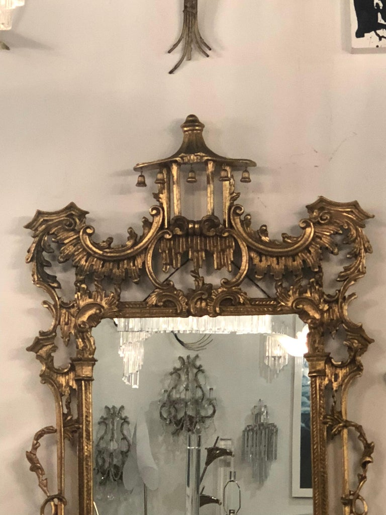 Vintage LaBarge Italian Pagoda Chinoiserie Wall Mirror Bells Carved Wood For Sale 3
