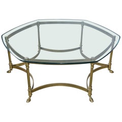 Vintage Labarge Style Hexagon Brass Coffee Table