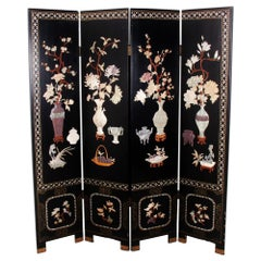 Vintage Lacquer and Carved Hardstone Screen