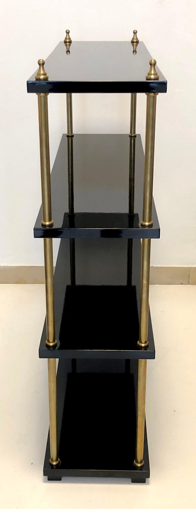 Vintage Lacquer Wood Brass Bookcase, France In Excellent Condition For Sale In Munich, DE