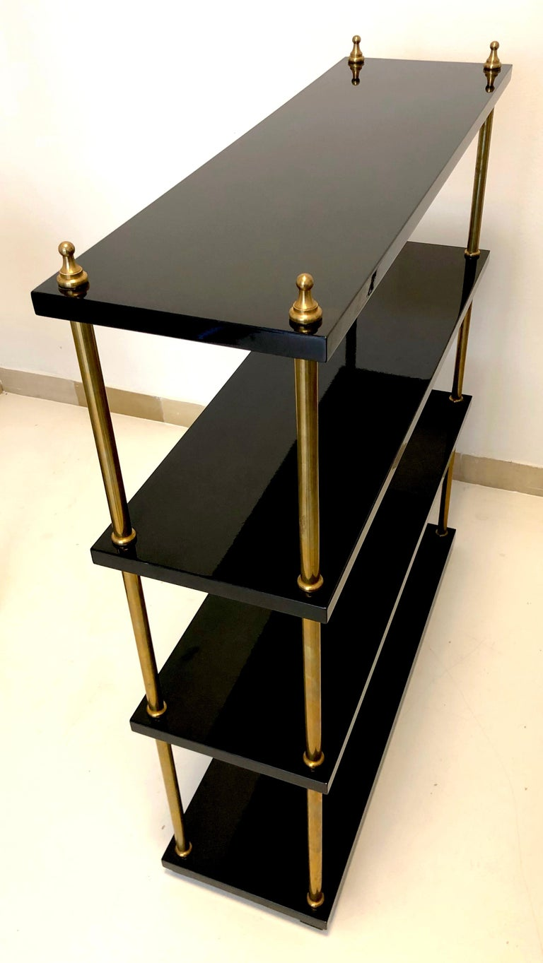 Mid-20th Century Vintage Lacquer Wood Brass Bookcase, France For Sale