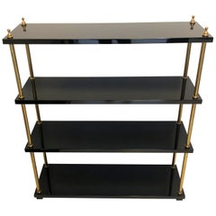 Vintage Lacquer Wood Brass Bookcase, France