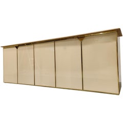 Vintage Lacquered and Travertine Credenza, 1970s