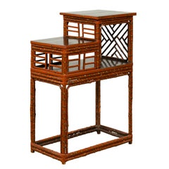 Vintage Lacquered Chinese Tiered Bamboo Lamp Table with Geometric Motifs