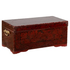 Vintage Lacquered Leather Chest with Burgundy Patina from Palembang, Sumatra