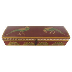 Vintage Lacquered Pen Box Depicting Birds and Palm Trees
