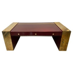 Vintage Lacquered Wood & Brass Desk by Jean Claude Mahey, France, ca. 1970s