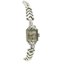 Vintage Ladies 14 Karat White Gold Diamond Longines Dress Watch, 17.70 Grams