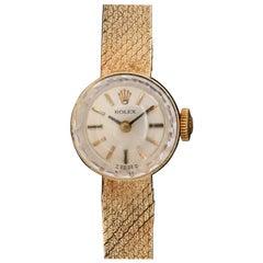 Vintage Ladies 14 Karat Yellow Gold Rolex Cocktail Wristwatch with Original Box