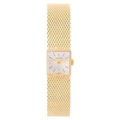 Vintage Ladies 14k Yellow Gold Square Ladies Watch on Mesh Bracelet