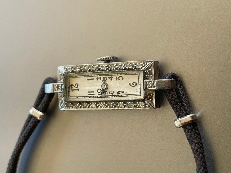 Single Cut Vintage Ladies 17 Jewel Movement Platinum Wrist Watch For Sale