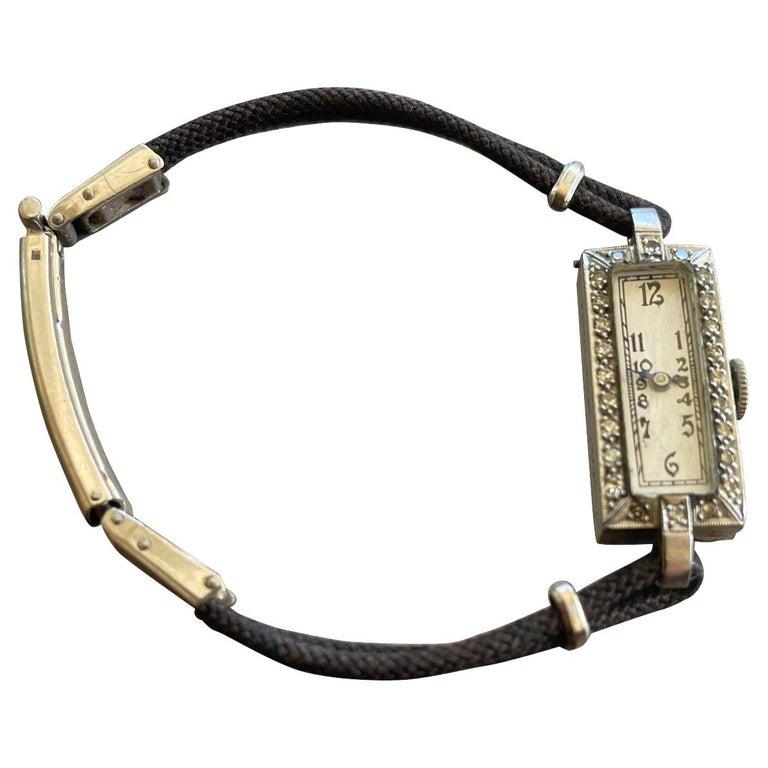 Vintage Ladies 17 Jewel Movement Platinum Wrist Watch For Sale