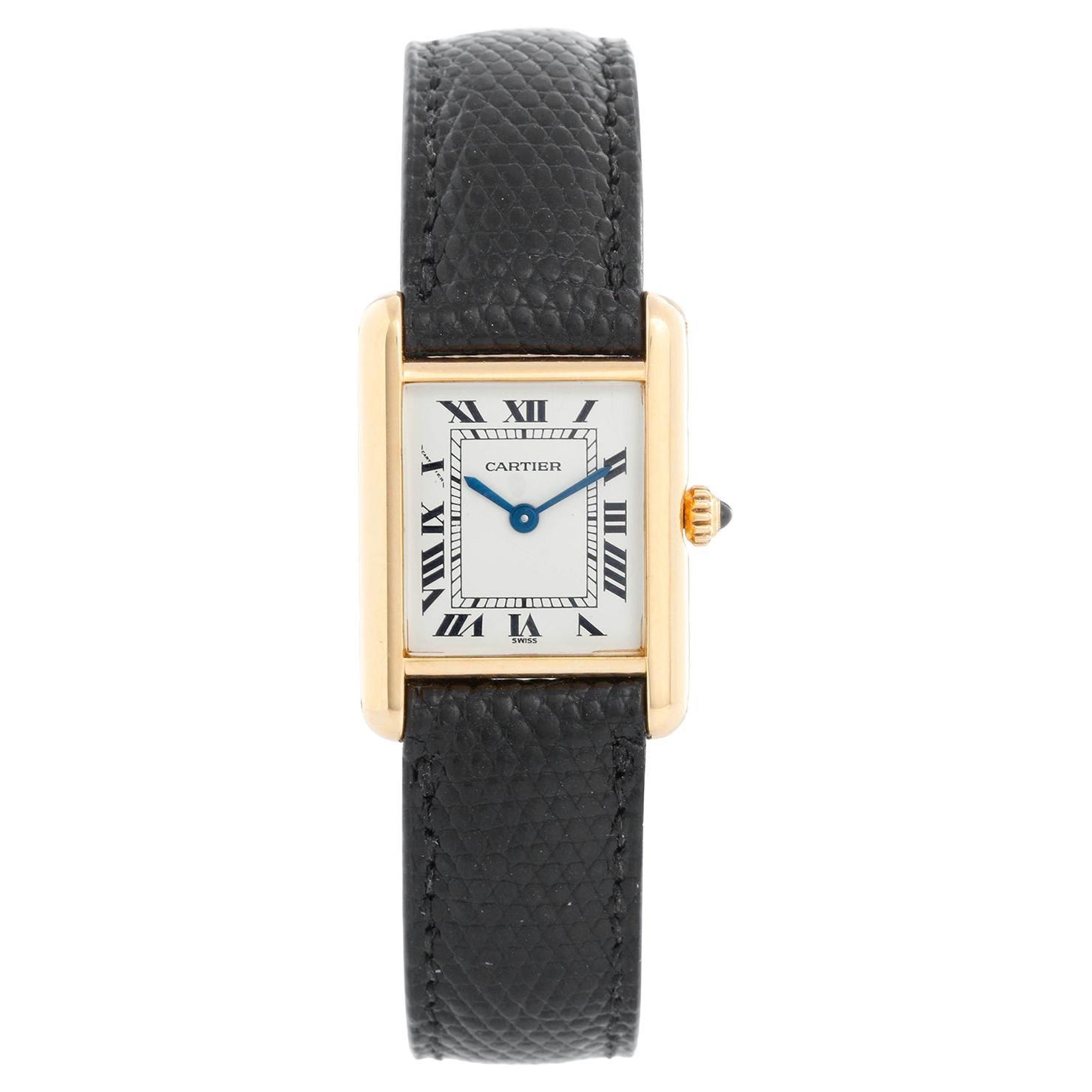 Vintage Ladies 18k Gold Cartier Tank Louis Watch