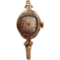 Vintage Ladies Bulova 10 Karat Rose Gold-Plated Watch, Champagne Face, Petite