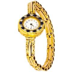 Vintage Ladies Diamond and Sapphire 18 Carat Gold Watch