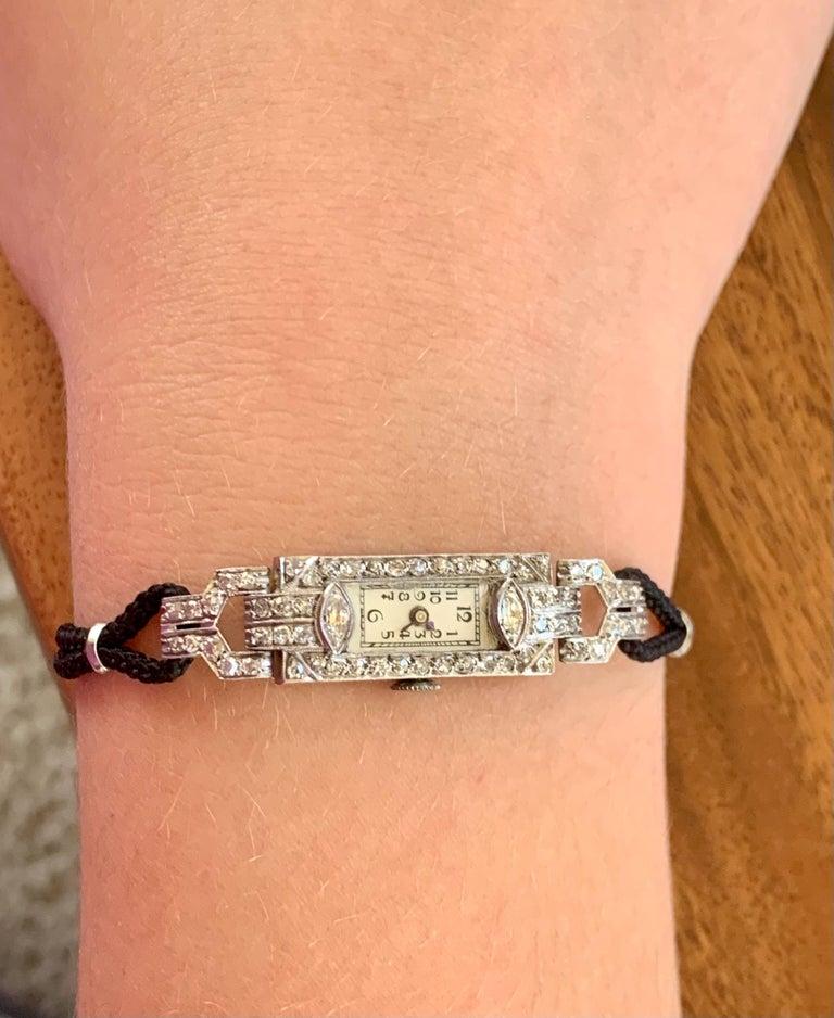 Women's Vintage Ladies Diamond Platinum 17 Jewel Swiss Wrist Watch