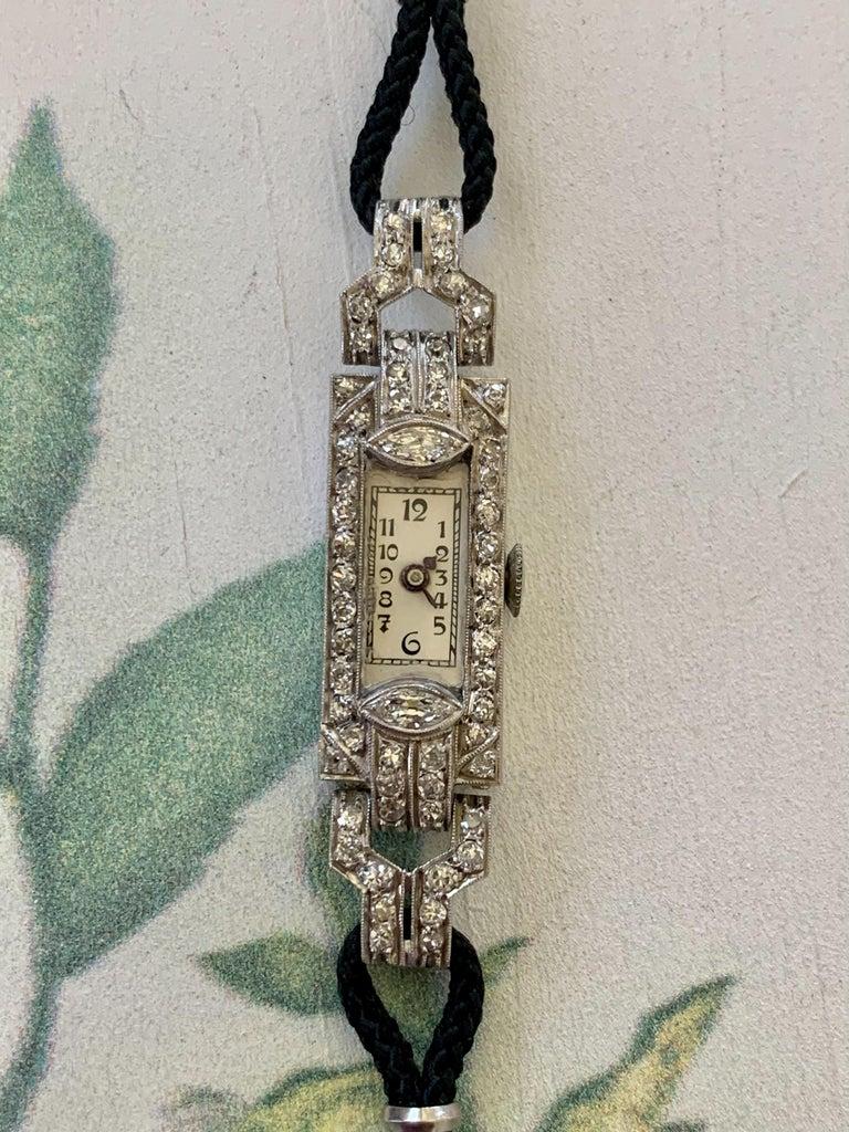 Vintage Ladies Diamond Platinum 17 Jewel Swiss Wrist Watch 1