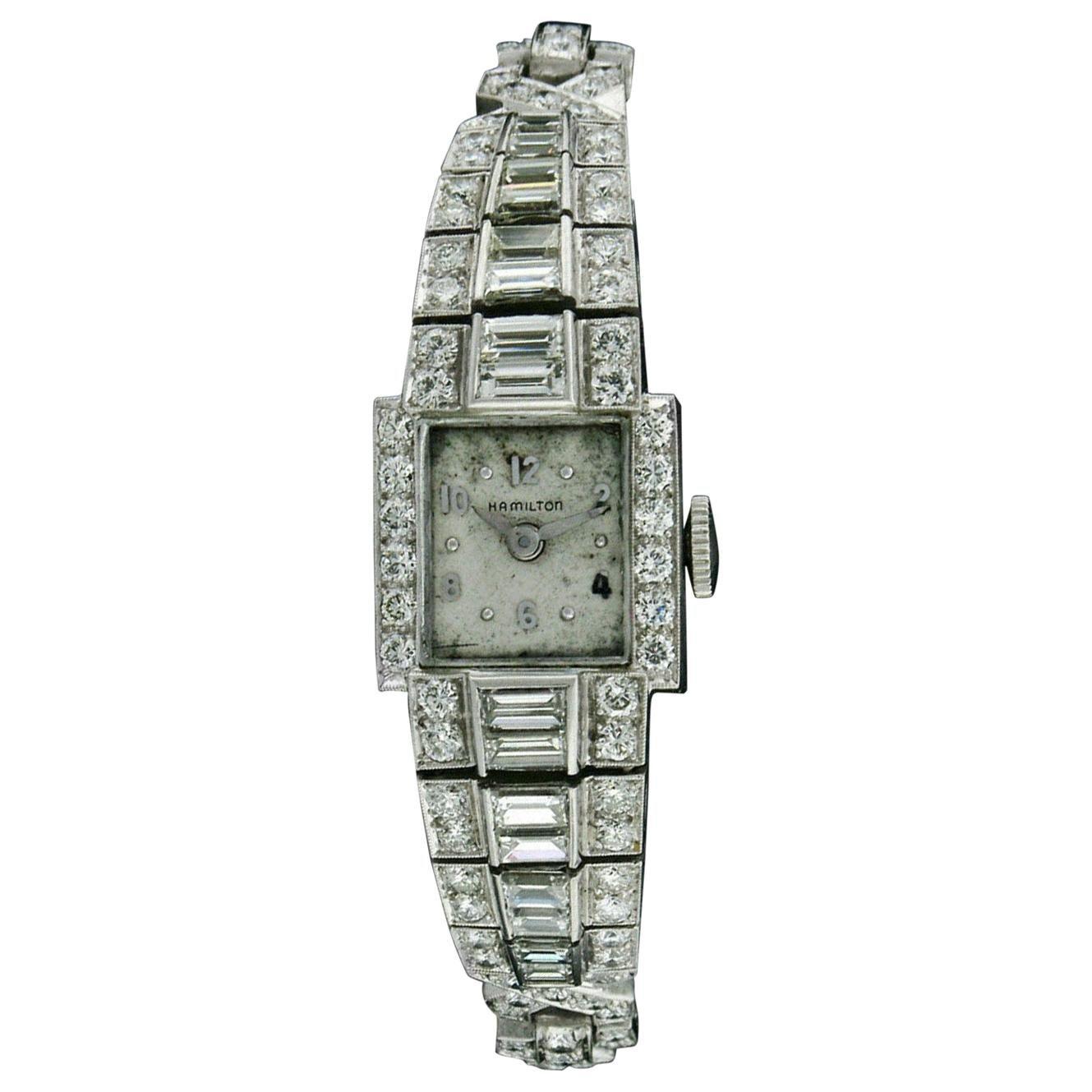Vintage Ladies Hamilton Wristwatch 7.79ctw Fine Diamond Platinum Case Bracelet