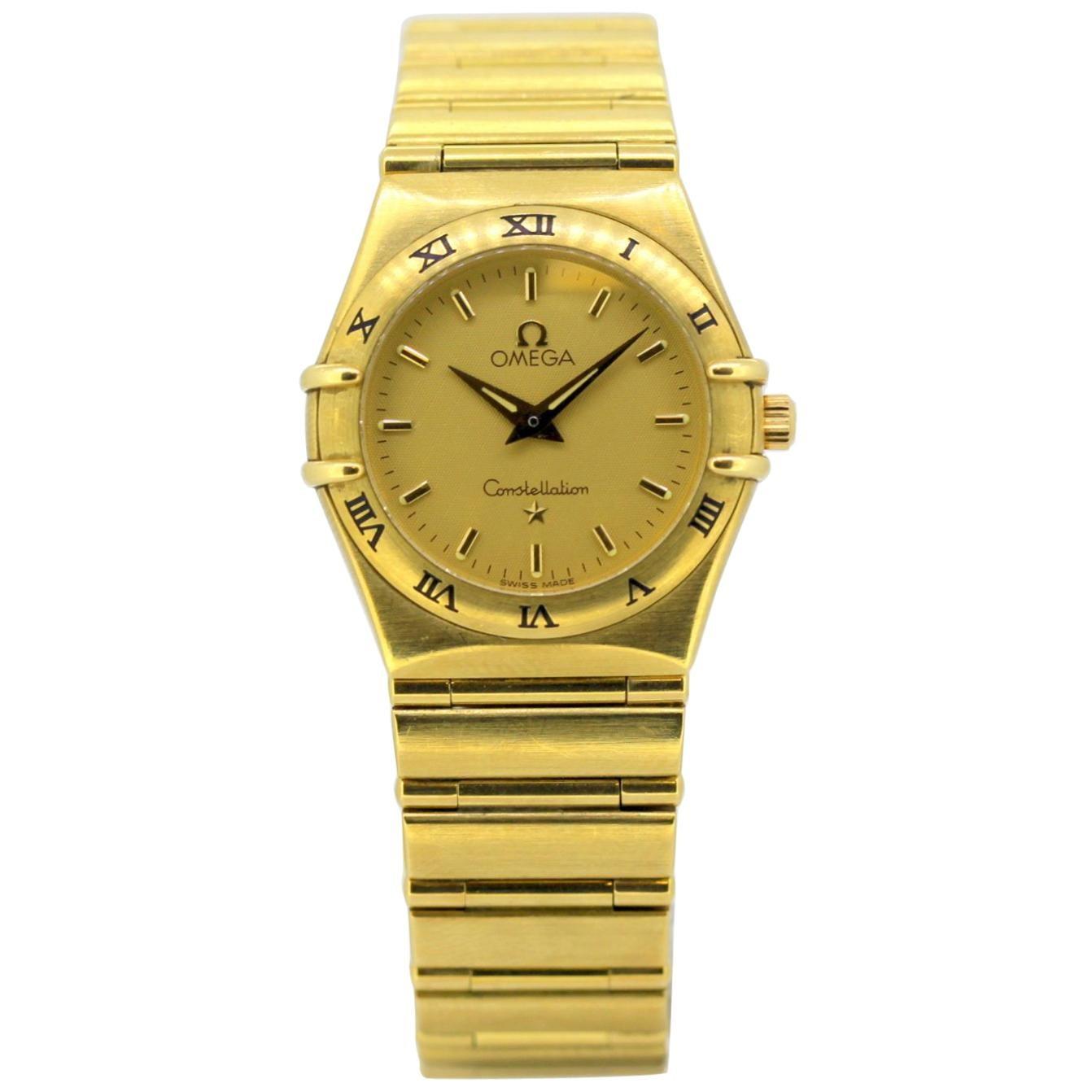Vintage Ladies Omega Constellation Quartz Wristwatch Full 18 Karat Gold, 1998