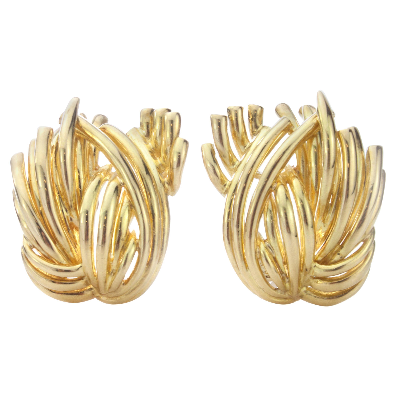 Vintage Ladies Tiffany & Co 18 Karat Yellow Gold Ladies Clip-On Earrings