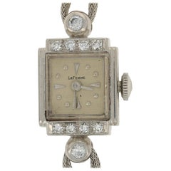 Vintage LaFemme Ladies Diamond Watch, Platinum and 14k Gold Quartz 2yr. Wnty