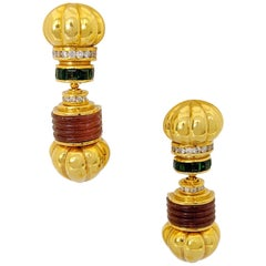 Vintage Lagos 18 Karat Yellow Gold Caviar Earrings with Tourmaline and Diamonds