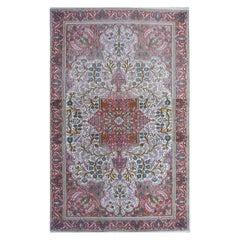Vintage Lahore Kashmir Silk Rug Distressed Industrial Look Beige Copper