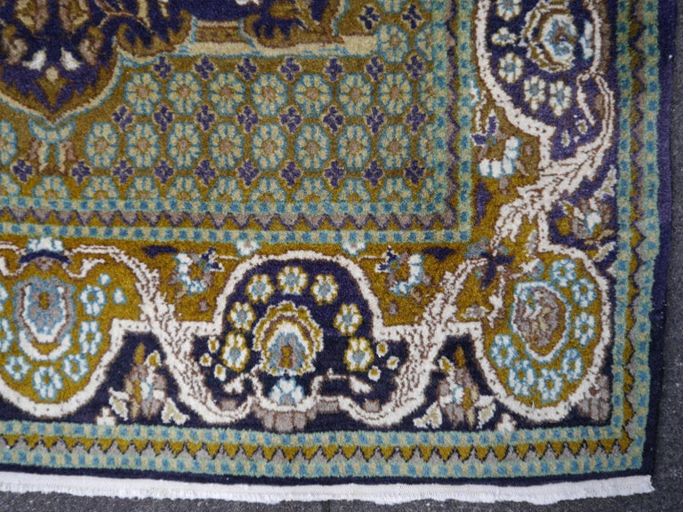 Vintage Lahore Kashmir Wool Rug Pair of Bedside Rugs Blue Green Turquoise Beige For Sale 4
