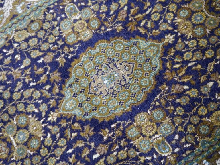 Vintage Lahore Kashmir Wool Rug Pair of Bedside Rugs Blue Green Turquoise Beige For Sale 5