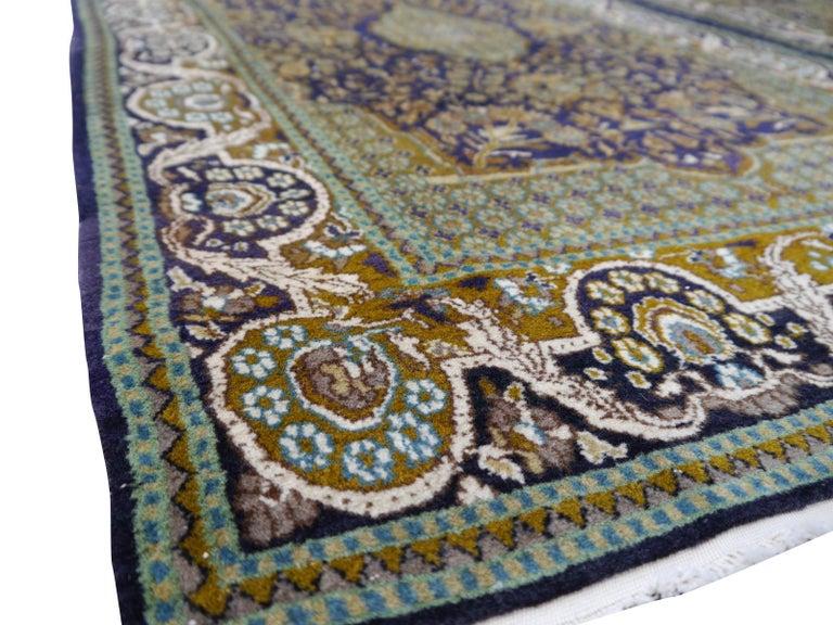 Kirman Vintage Lahore Kashmir Wool Rug Pair of Bedside Rugs Blue Green Turquoise Beige For Sale
