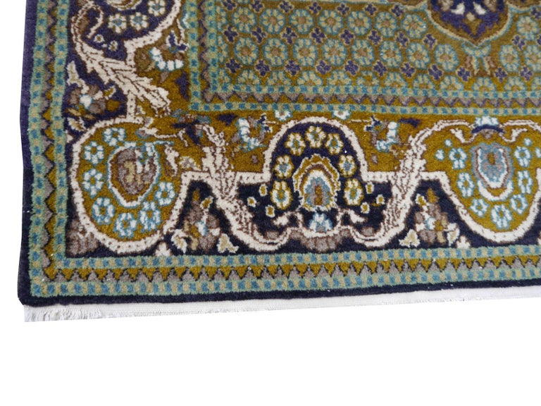 Indian Vintage Lahore Kashmir Wool Rug Pair of Bedside Rugs Blue Green Turquoise Beige For Sale