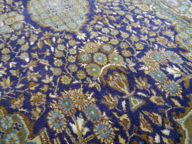Vintage Lahore Kashmir Wool Rug Pair of Bedside Rugs Blue Green Turquoise Beige In Good Condition For Sale In Lohr, Bavaria, DE