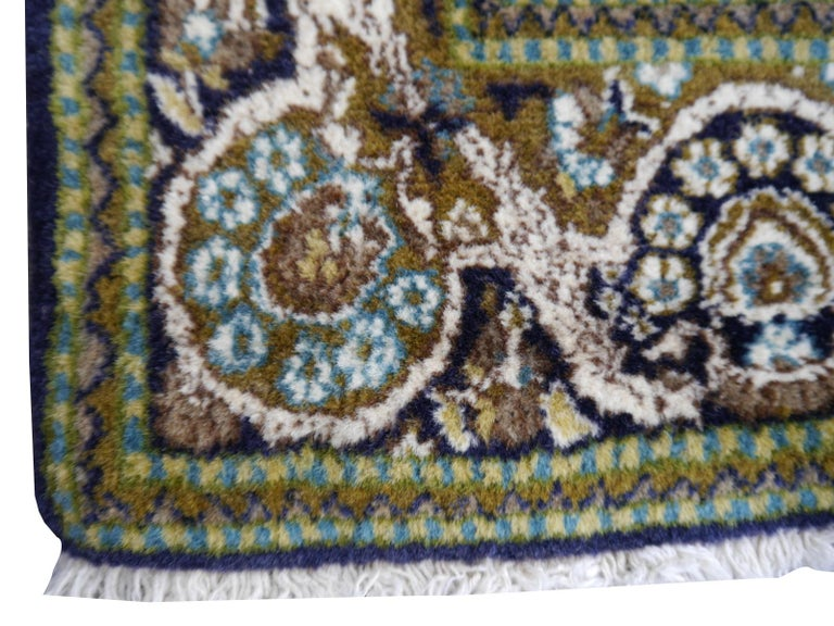 Mid-20th Century Vintage Lahore Kashmir Wool Rug Pair of Bedside Rugs Blue Green Turquoise Beige For Sale