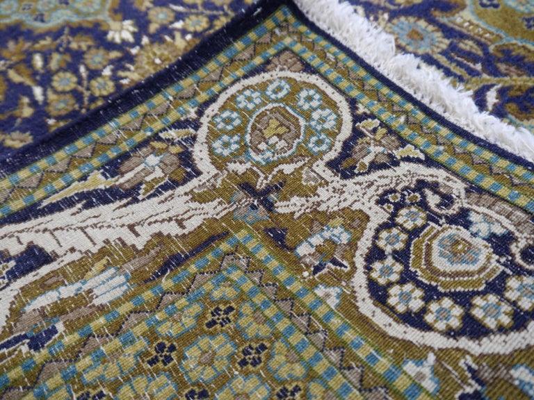 Vintage Lahore Kashmir Wool Rug Pair of Bedside Rugs Blue Green Turquoise Beige For Sale 1