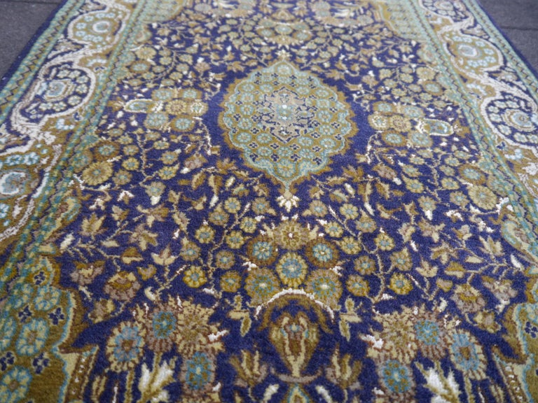Vintage Lahore Kashmir Wool Rug Pair of Bedside Rugs Blue Green Turquoise Beige For Sale 2