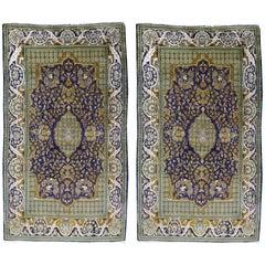 Vintage Lahore Kashmir Wool Rug Pair of Bedside Rugs Blue Green Turquoise Beige