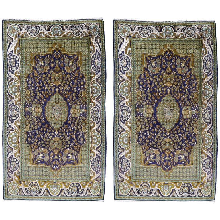 Vintage Lahore Kashmir Wool Rug Pair of Bedside Rugs Blue Green Turquoise Beige For Sale